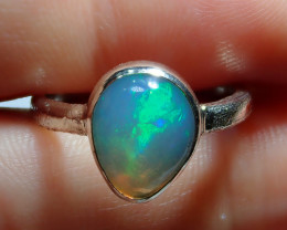 .925 Sterling Blue Welo Solid Opal Ring