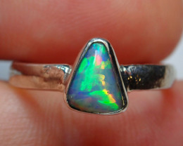 .925 Sterling Blazing Blue Welo Solid Opal Ring