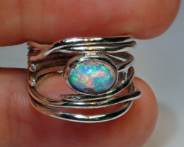 .925 Sterling Mexican Solid Opal Ring