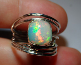 8.5sz .925 Sterling Blazing Welo Solid Opal Ring