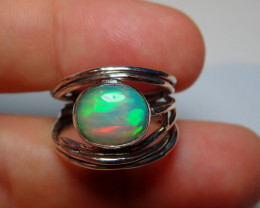 7.7sz .925 Sterling Blazing Welo Solid Opal Ring
