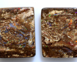 20.35 CTS BOULDER WOOD FOSSIL OPAL STONE PAIR  NC-6634