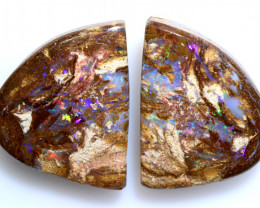 14.70 CTS BOULDER WOOD FOSSIL OPAL STONE PAIR  NC-6637