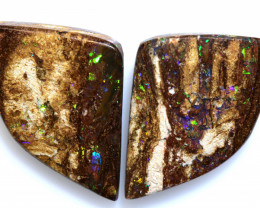 10.20 CTS BOULDER WOOD FOSSIL OPAL STONE PAIR  NC-6640
