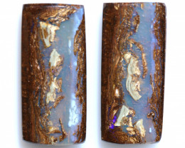 41 CTS BOULDER WOOD FOSSIL OPAL STONE PAIR  NC-6658