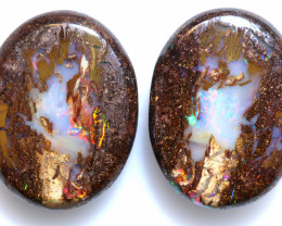 16.25 CTS BOULDER WOOD FOSSIL OPAL STONE PAIR  NC-6671