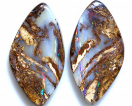 29.10 CTS BOULDER WOOD FOSSIL OPAL STONE PAIR  NC-6672