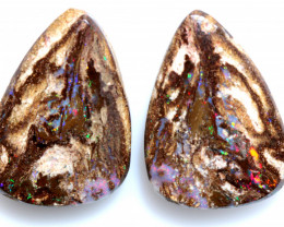 13.70 CTS BOULDER WOOD FOSSIL  WOOD OPAL STONE PAIR  NC-6673