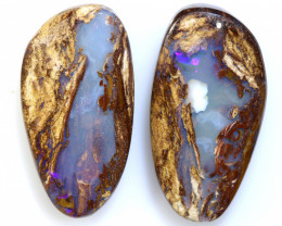 16.25 CTS BOULDER WOOD FOSSIL OPAL STONE PAIR  NC-6677