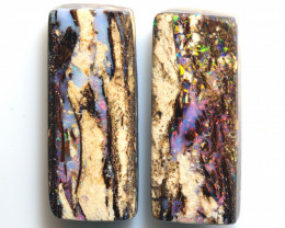 28.50 CTS BOULDER WOOD FOSSIL OPAL STONE PAIR  NC-6686
