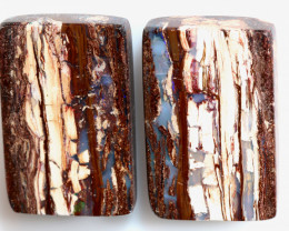 29.35 CTS BOULDER WOOD FOSSIL OPAL STONE PAIR  NC-6691