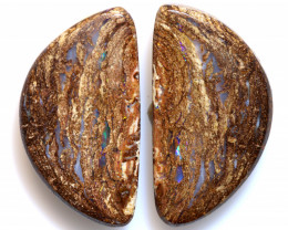 17.15 CTS BOULDER WOOD FOSSIL REPLACEMENT OPAL  PAIR  NC-6704