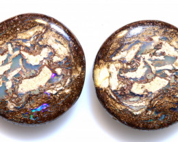 22.50 CTS BOULDER WOOD FOSSIL  OPAL STONE PAIR  NC-6706