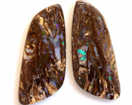 45.30 CTS BOULDER WOOD FOSSIL OPAL STONE PAIR  NC-6710