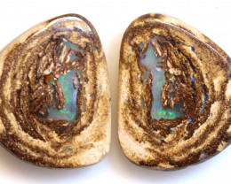 15.95 CTS BOULDER WOOD FOSSIL OPAL STONE PAIR  NC-6711