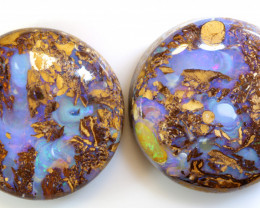 70 CTS BOULDER WOOD FOSSIL OPAL PAIR  NC-6728