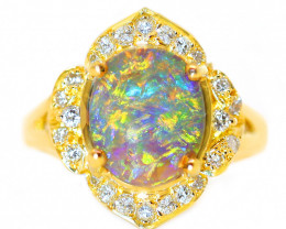 18K GOLD  BLACK OPAL CRYSTAL  RING AND DIAMONDS [CR60]