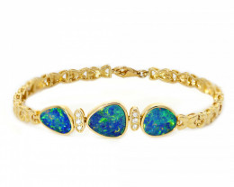 18k GOLD DOUBLET OPAL BRACELET WITH DIAMONDS [CB07]