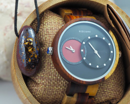 Wooden Watch & Opal Necklace - Multiple Time Zone -Black & Red - W009