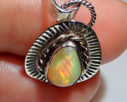 11.86ct Blazing Welo Solid Opal .925 Sterling Silver Pendant