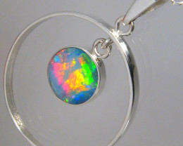 Australian Opal Pendant Silver Bright Ruby Red Fire Hoop Love Gift Gem 7ct