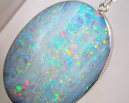 Opal Pendant Genuine VERY Large Natural Australian Silver Jewelry 46.7ct  B