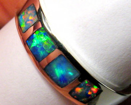 Australian Opal Ring Solid Crystal Mens Size 11 Inlay Sterling Silver 2.1g