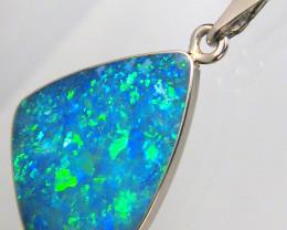 Australian Opal Pendant Inlaid Doublet in 14k White Gold Gem Colour!