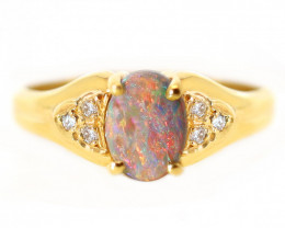 18K GOLD SEMI BLACK OPAL RING GOLD AND DIAMONDS [CR62]