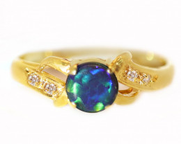 18K GOLD BLACK OPAL RING GOLD AND DIAMONDS [CR63]