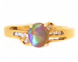 18K GOLD SEMI BLACK OPAL RING GOLD AND DIAMONDS [CR64]