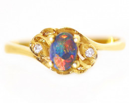 18K GOLD BLACK OPAL RING GOLD AND DIAMONDS [CR65]