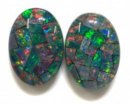Gem  pair Australian Triplet Mosaic Opals  OPJ 2545