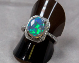 CRYSTAL  OPAL WHITE GOLD RING LIGHNING RIDGE