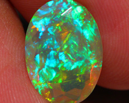 3.49 CT 14X10 MM ONE OF A KIND!! Faceted Cut Ethiopian Opal -DF189