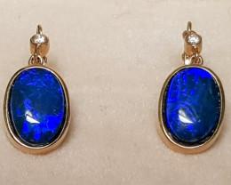 ELEGANT Australian Opal Doublet Earrings 14K Gold