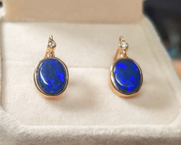 Australian Opal Doublet Earrings 14K Gold