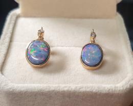 BEAUTIFUL Australian Opal Doublet Earrings 14K Gold