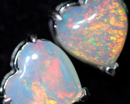 CRYSTAL OPAL HEART  EARRINGS IN 10 K GOLD [SOJ6740]+SJ
