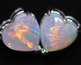 CRYSTAL OPAL HEART  EARRINGS IN 10 K GOLD [SOJ6744]+SJ