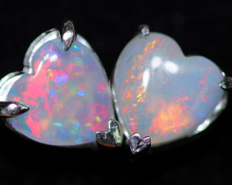 CRYSTAL OPAL HEART  EARRINGS IN 10 K GOLD [SOJ6749]+SJ