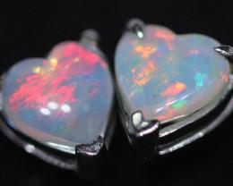 CRYSTAL OPAL HEART  EARRINGS IN 10 K GOLD [SOJ6750]+SJ