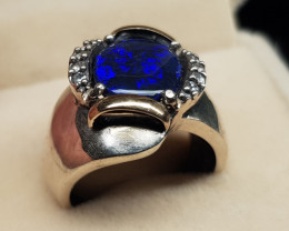 Black Opal Silver Ring with 9K sheet of Gold