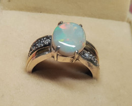 BEAUTIFUL  Opal Silver Ring with 9K Sheet of Gold