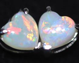 CRYSTAL OPAL HEART  EARRINGS IN 10 K GOLD [SOJ6751]+SJ