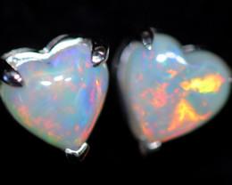 CRYSTAL OPAL HEART  EARRINGS IN 10 K GOLD [SOJ6752]+SJ