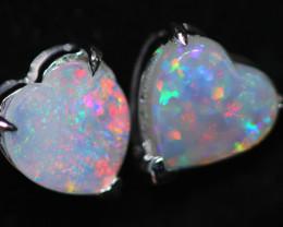 CRYSTAL OPAL HEART  EARRINGS IN 10 K GOLD [SOJ6755]+SJ