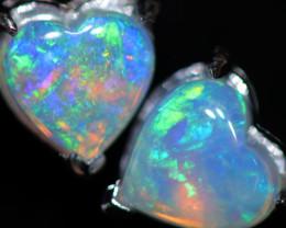 CRYSTAL OPAL HEART  EARRINGS IN 10 K GOLD [SOJ6756]+SJ
