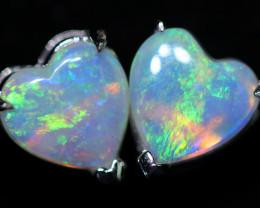 CRYSTAL OPAL HEART  EARRINGS IN 10 K GOLD [SOJ6759]+SJ