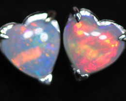 CRYSTAL OPAL HEART  EARRINGS IN 10 K GOLD [SOJ6760]+SJ